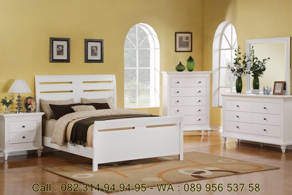 Tempat Tidur Minimalis Cat Duco Putih