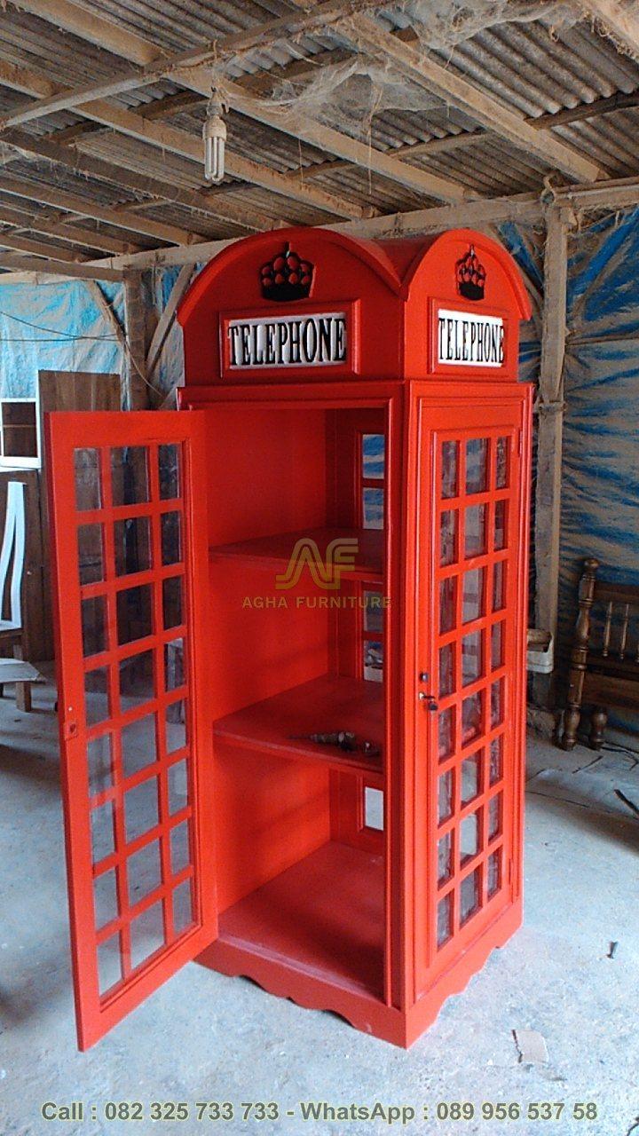 Lemari Hias Box Telepon Inggris Jepara