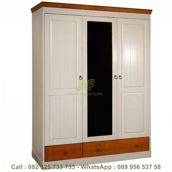 Lemari Pakaian Baju 3 Pintu Duco Putih